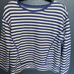 Blue and White Striped Long Sleeve T-Shirt